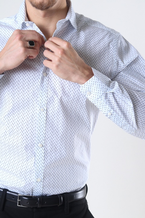 Jack & Jones JPRBLABLACKPOOL STRETCH SHIRT L/S STS White SLIM FIT