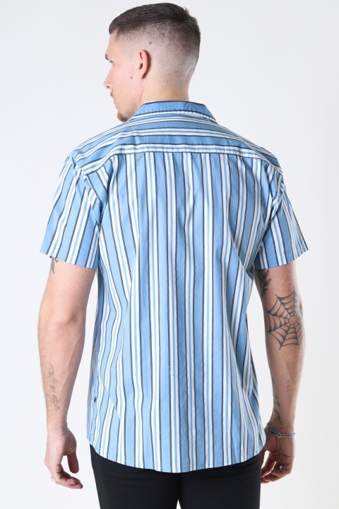 Kronstadt Cuba printed stripe s/s shirt Light Blue