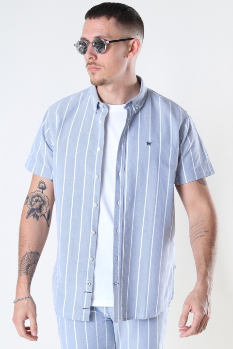 Kronstadt Johan Oxford  stripe 4 s/s shirt Light Blue