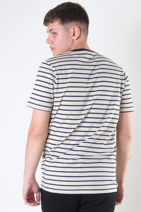 Jack & Jones Striped Tee Crewneck White Melange