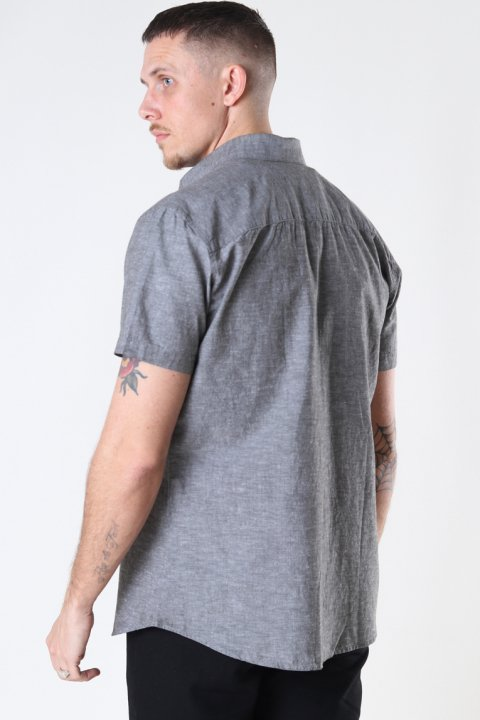 Selected SLHSLIMNEW-LINEN SHIRT SS CLASSIC W Black Olive