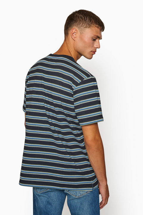 Woodbird Troi Striped Tee Navy
