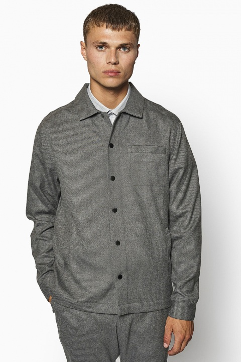 Woodbird Brenti Pin Shirt Antra Grey