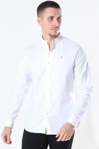 Clean Cut Oxford Stretch Mao L/S Shirt White