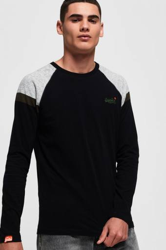 O L Eng'D Sleeve Baseball T-shirt Black