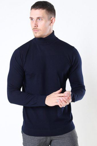 Merino Wool Roll Strik Navy