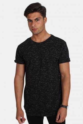 TB1576 Space Dye Turnup T-shirt Black/White