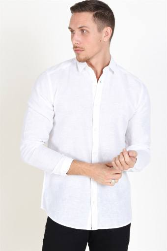 Caiden LS Solid Linen Shirt White