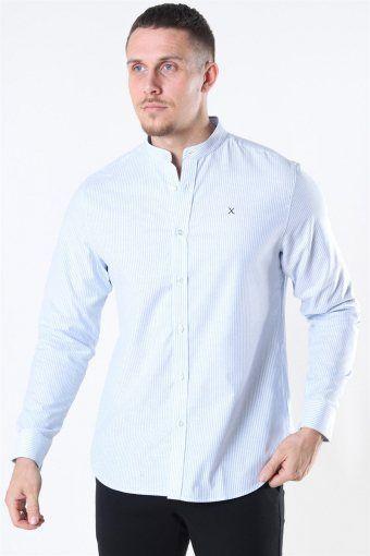 Clean Cut Oxford Stretch Mao Stripe L/S Shirt Light Blue