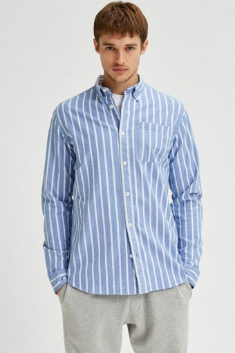 SLHREGRICK-OX FLEX SHIRT LS S NOOS Dark Navy Stripes
