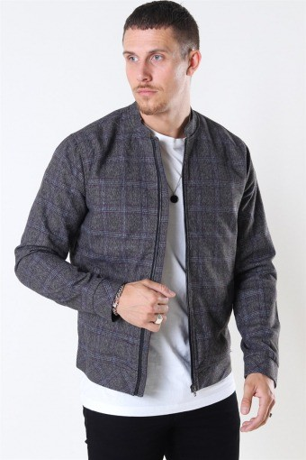 Tailored & Originals Shayan Bomber Jakke Med Grey Melange