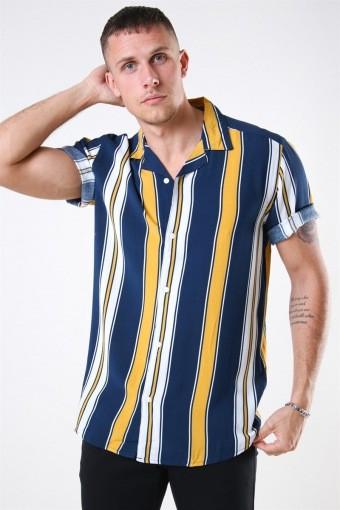 Vilas S/S Reverse Viscose Shirt Golden Spice Stripes