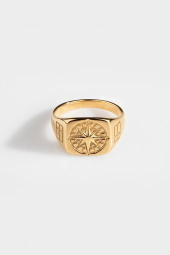 Compass Signature Ring Gold