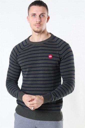 Liam Recycled Cotton Striped Strik Army Mel/Navy