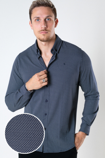 Hudson Stretch Shirt L/S Navy Dot