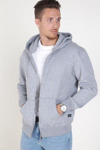 Soft Sweatshirts Zip Hood Light Grey Melange