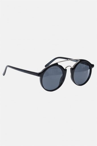 Fashion Round Club Sort/Sølv Solbrille Grey Lens
