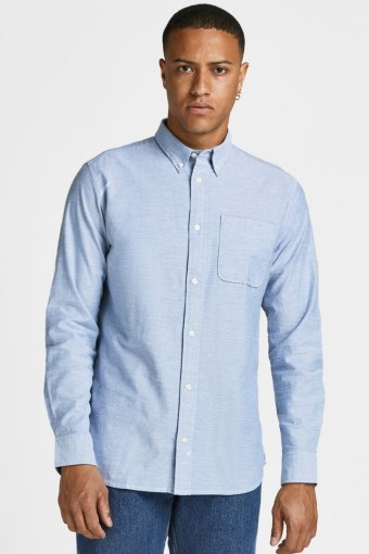 JPRBLUBROOK OXFORD SHIRT L/S NOOS Cashmere Blue SLIM FIT