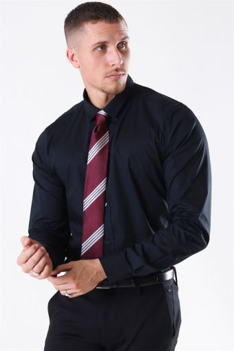 Alfredo LS stretch Shirt Black