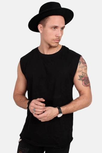 TB1562 Open Edge Sleeveless T-shirt Black