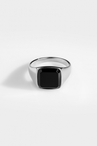 Black Onyx Signature Ring Silver