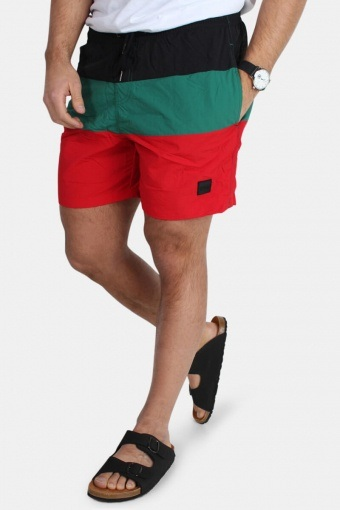 Color Block Uimahousut Firered/Black/Green