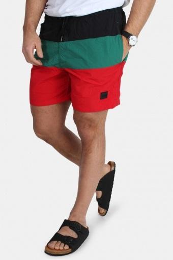 Color Block Badeshorts Firered/Black/Green