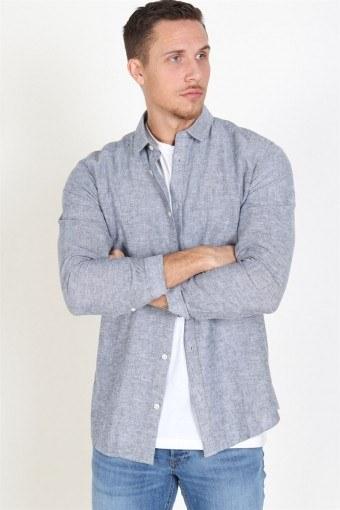 Caiden LS Solid Linen Shirt Dress Blues