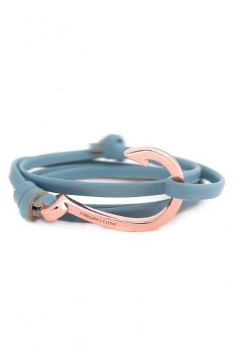 Hook Leather Armbånd Lake Blue/Cobber