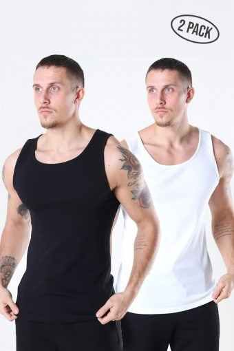 Nate Reg Tank Top 2-Pack Black/White