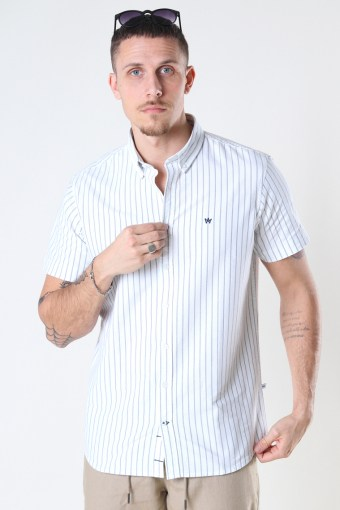 Johan Oxford  stripe 3 s/s shirt Light Blue