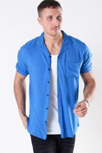 Silo Solid Viskose Shirt S/S Baleine Blue