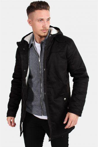 Alex Teddy Parka Jacket Black