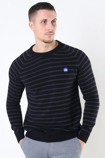 Liam Recycled Cotton Striped Strik Black/Charcoal