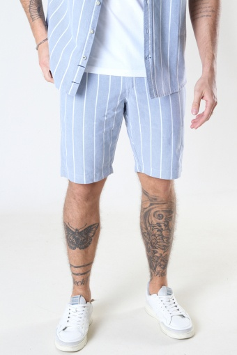 Hector Oxford stripe 4 shorts Light Blue