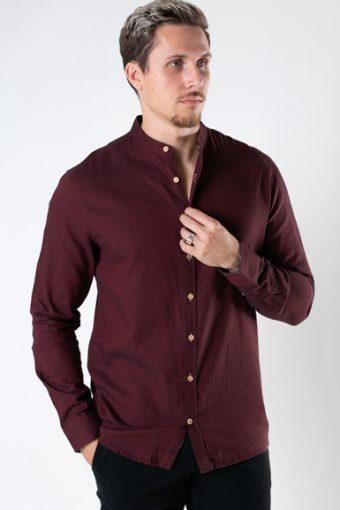 Dean Diego Cotton henley shirt Bordeaux mel