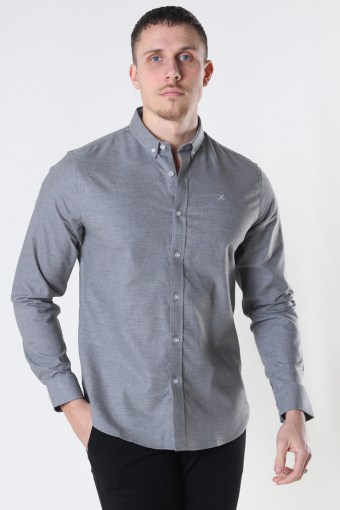 Oxford Stretch Plain L/S Light Grey Mel