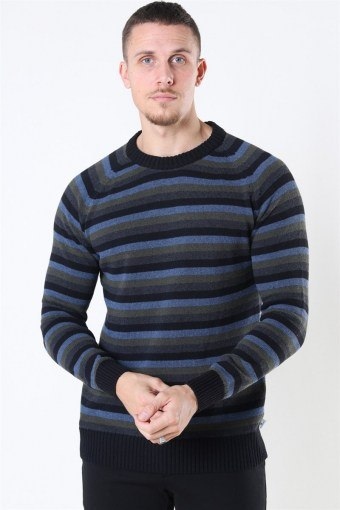 Liam Crew Multi Stripe Strik Black/Army