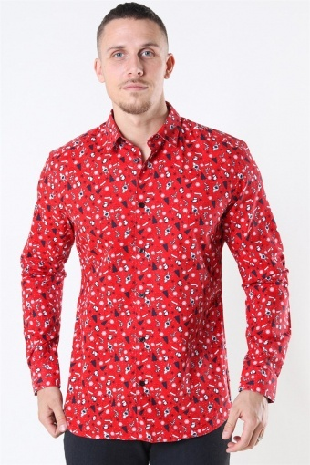 LS Funny Ditsy Shirt Pompeian Red