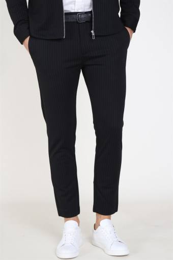 Clean Cut Milano Pinstripe Pants Black