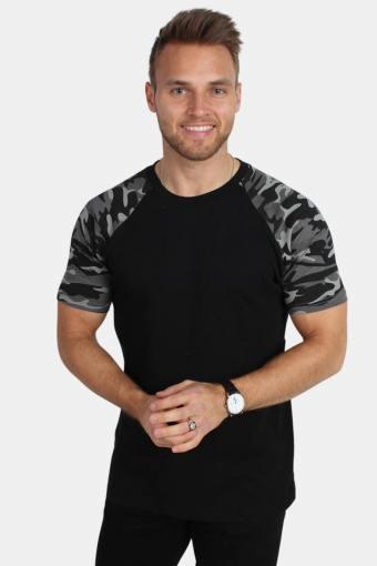 TB639 Raglan Contrast T-shirt Blk/Darkcamo