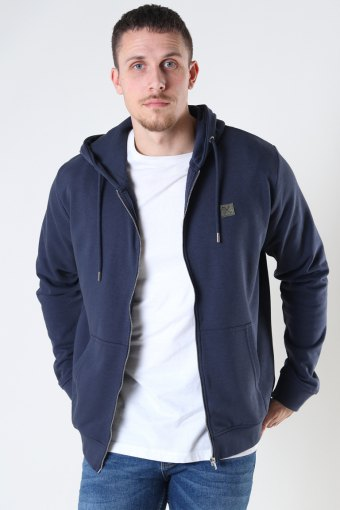 Basic Organic Zip Hood Navy