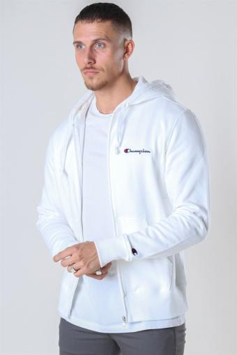 Hooded Full Zip Sweartshirt White