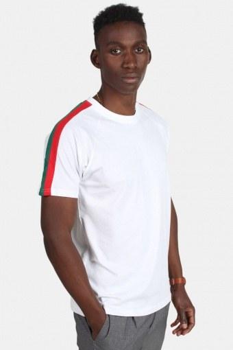 Urban Classic TB2059 Stripe Shoulder Raglan T-shirt White/Firered/Green