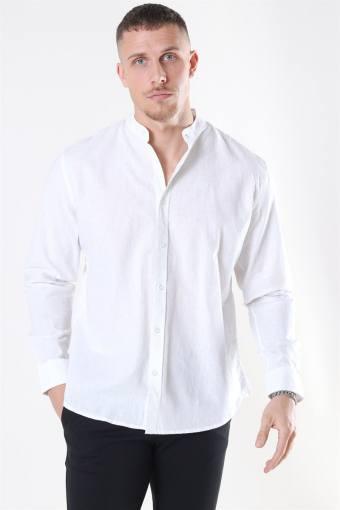 Clean Cut Cotton Linen Mao Shirt White
