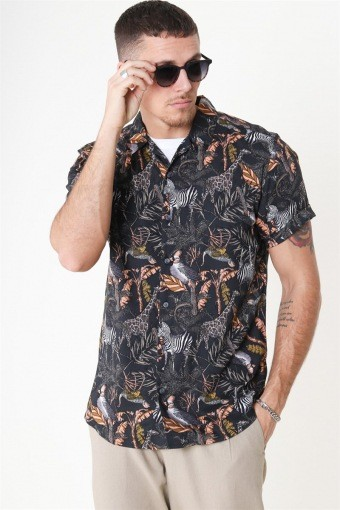 Gabrial S/S Animal Viscose Shirt Black/Zoo Print