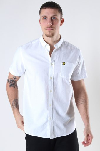 Short Sleeve Light Weight Slub Oxford Shirt White