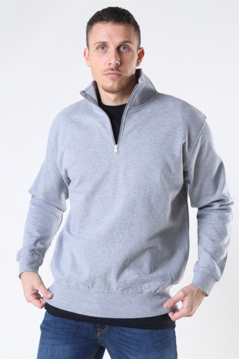 Quarter Zip Sweat Oxford Grey
