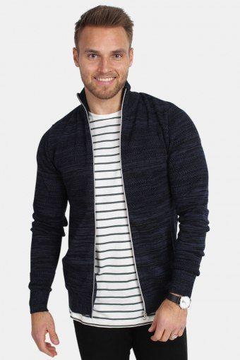Jonas Mouline Zip Knit Navy Mel/Black