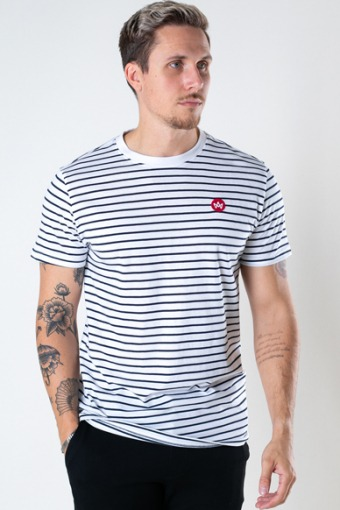 Timmi Organic/Recycled striped tee White / Navy